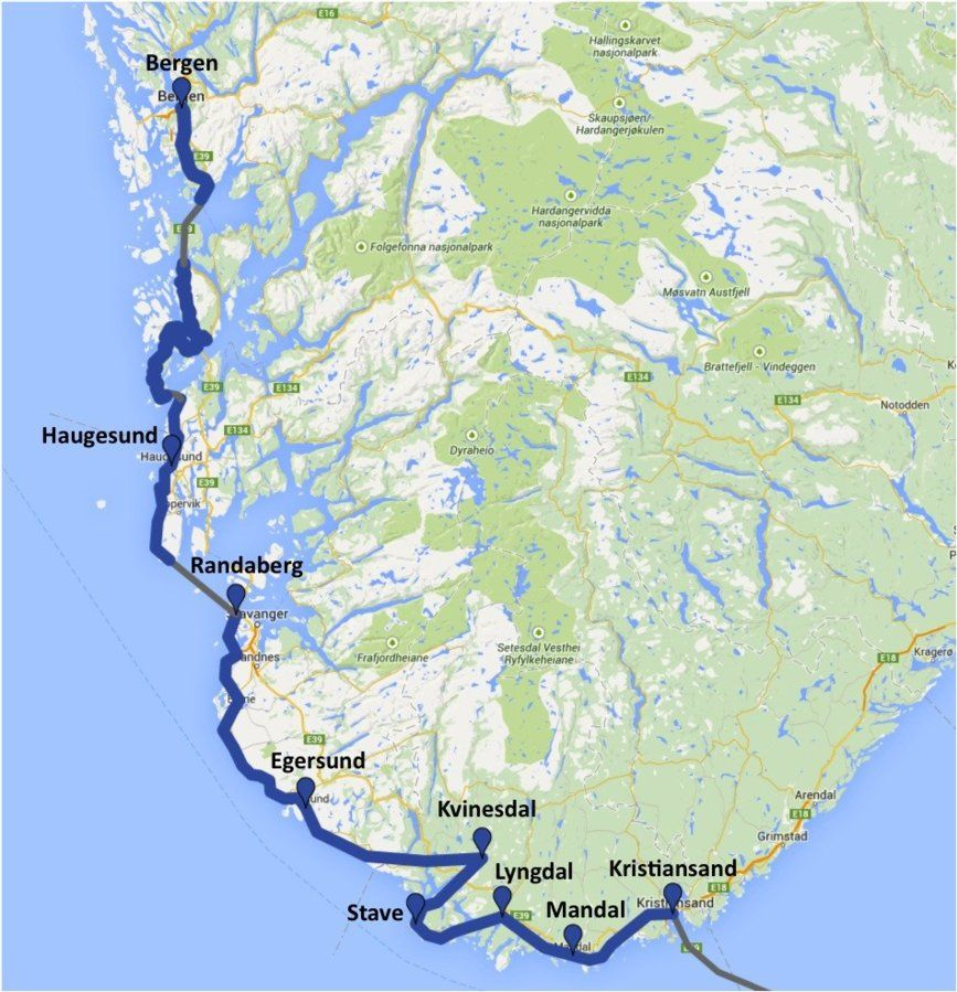 North Sea Route Norway Kristiansand Bergen CycleChat Cycling