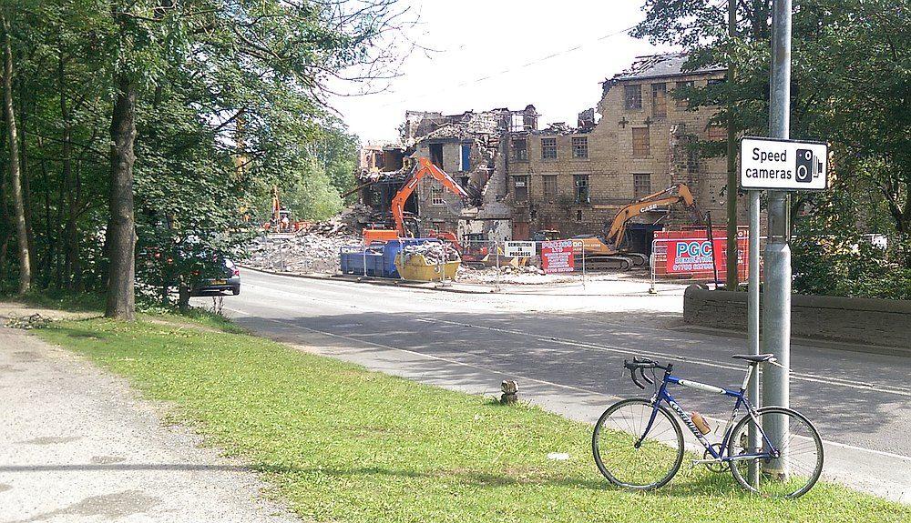 Bike in front of Walkleys Clogs demolition.jpg