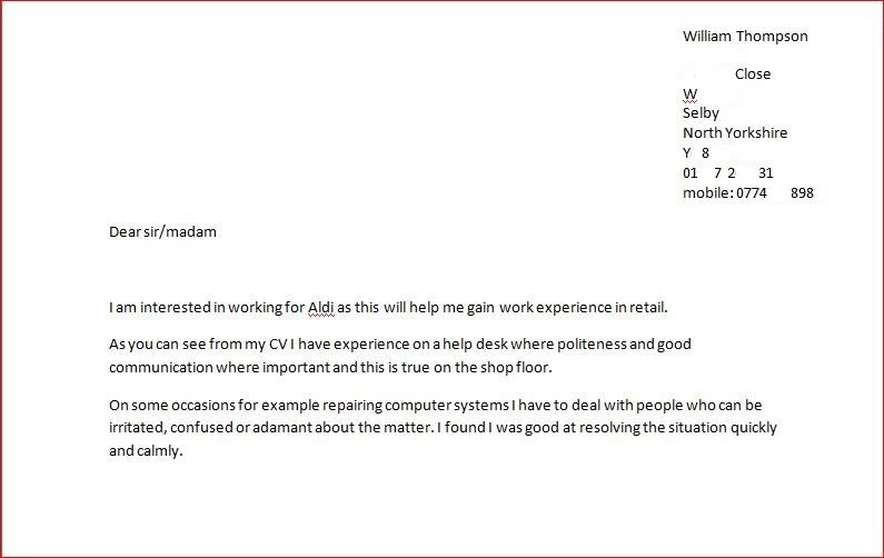 Cv Cover Letter For Aldi Retail District Manager