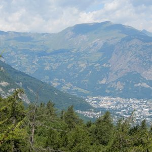 Saint-Jean-de-Maurienne viewed from partway up Col d'Albanne climb