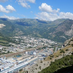 Saint-Jean-de-Maurienne viewed from.partway up Mont-Denis climb