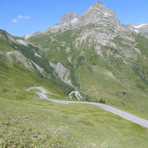 Some the bends near the top of the climb to Col du Glandon from the north