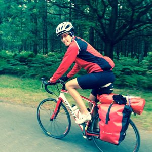 Road bike with panniers
