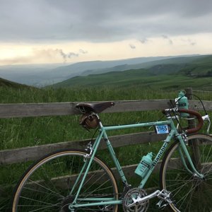 Bianchi Rekord at the top of Mam Nick - Eroica 100 2016