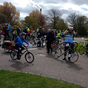 The feeder rides gather at Glasgow Green